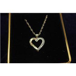 "14"" GOLD CHAIN WITH HEART & DIAMOND PENDANT"