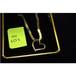 """13"""" GOLD CHAIN WITH HEART CHARM"""
