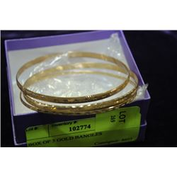 BOX OF 3 GOLD BANGLES
