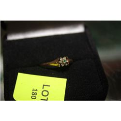LADIES GOLD RING W/ EMERALD AND DIAMOND FLOWER