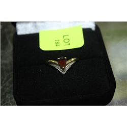 GOLD /WH GOLD CHEVRON RING W/ RUBY AND DIAMONDS