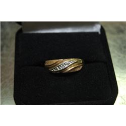 MENS GOLD WEDDING BAND W/ DIAMOND ACCENTS