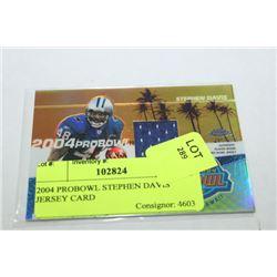 2004 PROBOWL STEPHEN DAVIS JERSEY CARD