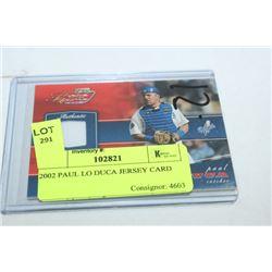 2002 PAUL LO DUCA JERSEY CARD