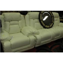 NEW WHITE LEATHER RECLINING SOFA W CHAIR