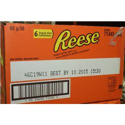 BOX: 36 6-93G REESE PEANUT BUTTER CUPS SNACK SIZE