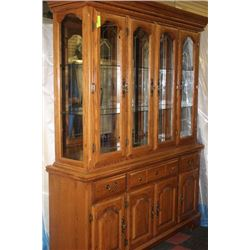 LARGE WOODEN CHINA CABINET TOP & BOTTOM