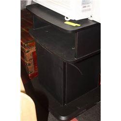 BLACK MULTI-PURPOSE STAND ON WHEEL W/ DOOR