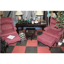 HERTIGAGE HOUSE WINGBACK CHAIR WITH OTTOMAN