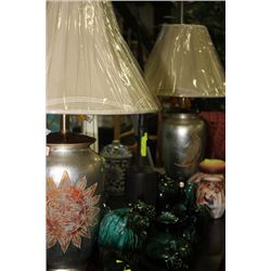 PAIR OF SILVER SUN & MOON PORCELAIN LAMPS