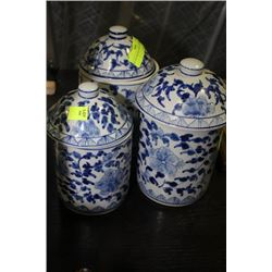 SET OF 3 BLUE & WHITE CANISTERS