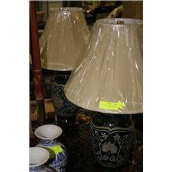 PAIR OF GREEN PORCELAIN LAMPS