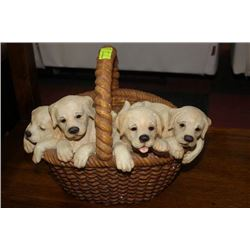 BASKET OF PUPPIES ORNAMENT