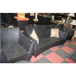 RATTAN STYLE COUCH AND 2 CHAIRS WITH COFFEE TABLE