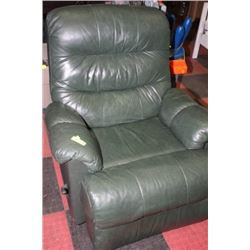 FOREST GREEN LEATHER SWIVEL/ROCKER/RECLINER