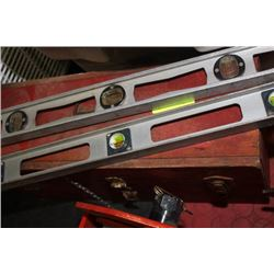 RED WOODEN TOOL BOX AND LEVELS