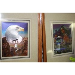 PAIR OF HOLOGRAPHIC NATIVE FRAMED PICTURES