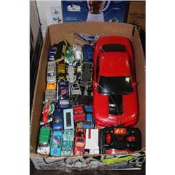 BOX W/ REMOTE CONTROL CAR & OVER 40 DIE CAST CARS