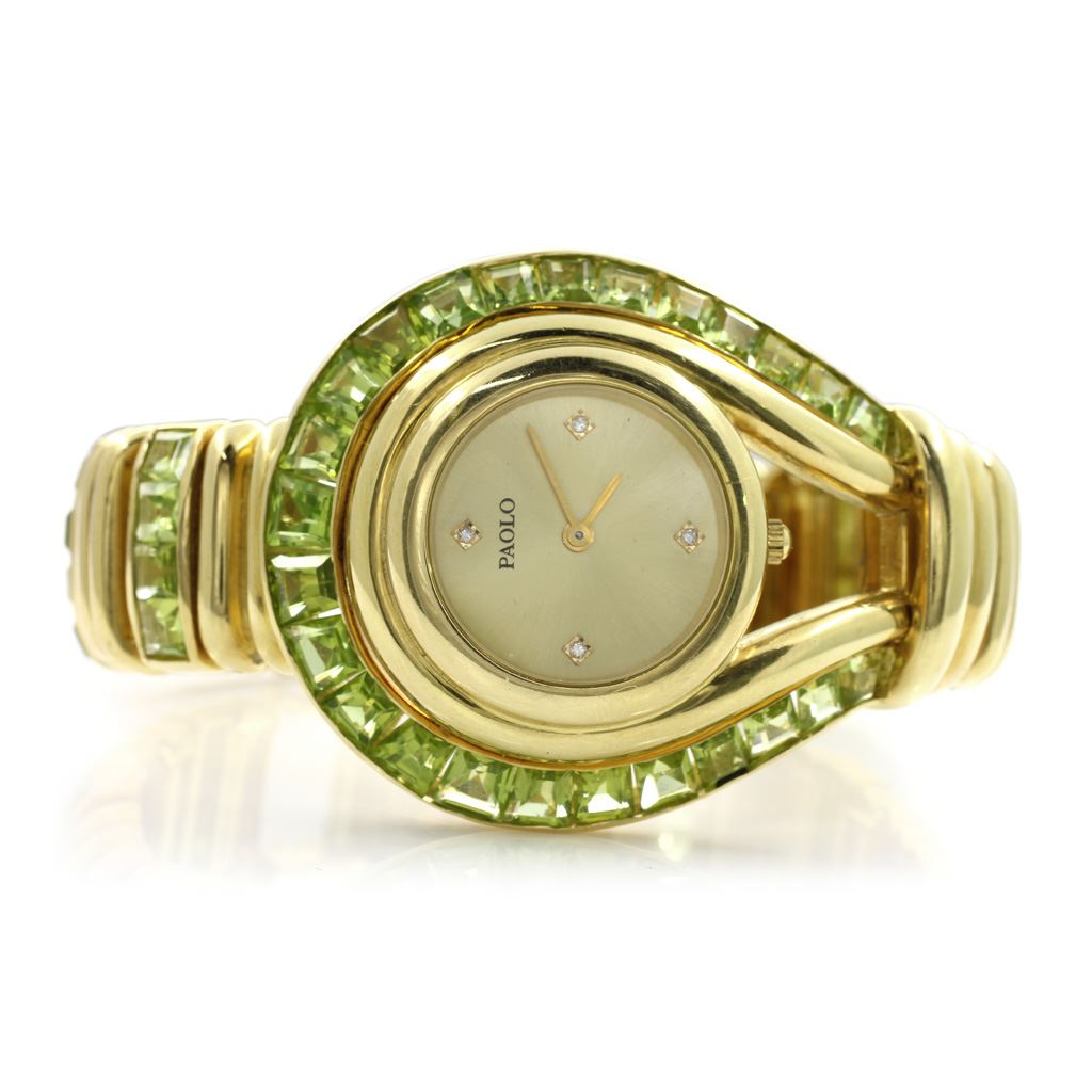 64a4a3c7897 Paolo Gucci 18Kt Gold   Peridot Watch. Loading zoom