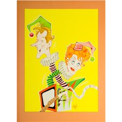Pair of Oversize Caricature Art Prints of Lucille Ball from Her Production Office