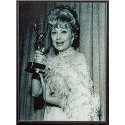 Gallery Portrait of Lucille Ball with Her Emmy Statue