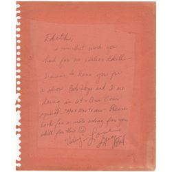 Lucille Ball Handwritten Note to Costume Designer Edith Head