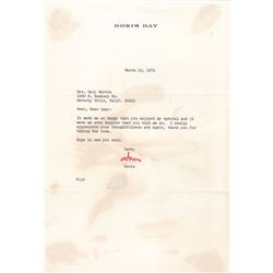 Doris Day Typed Letter Signed to Lucille Ball
