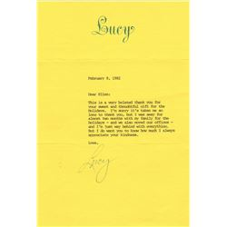 Lucille Ball Typed Letter Signed to Ellen Reed Dated February 8, 1982