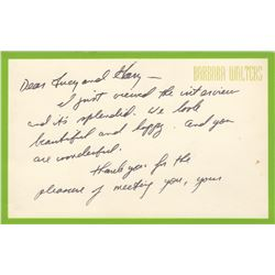Barbara Walters Handwritten Note to Lucille Ball & Gary Morton