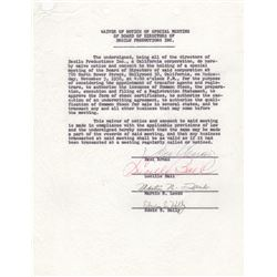 Lucille Ball & Desi Arnaz Signed Waiver of Notice of Special Meeting of Board Directors of Desilu