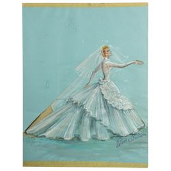 "Elois Jenssen Wedding Dress Costume Sketch for Lucille Ball as ""Susan Vega"" in Forever Darling"