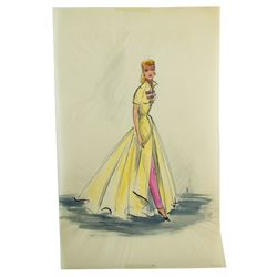 "Elois Jenssen Yellow & Pink Gown Costume Sketch for Lucille Ball as ""Susan Vega"" in Forever Darling"