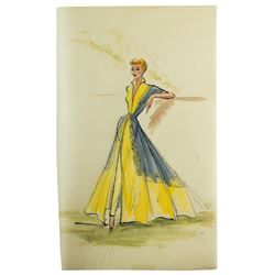 Elois Jenssen Yellow Gown with Gray Panels & Yellow Roses Costume Sketch for Lucille Ball