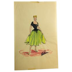 Elois Jenssen Black & Green Formal Gown Costume Sketch for Lucille Ball