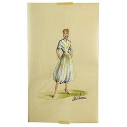 Elois Jenssen Gold & White Outfit with Harem Pants Costume Sketch Made for Lucille Ball