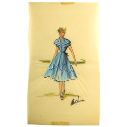 Elois Jenssen Blue Gown Costume Sketch for Lucille Ball