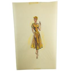 Elois Jenssen Bronze & Yellow Dress Costume Sketch for Lucille Ball
