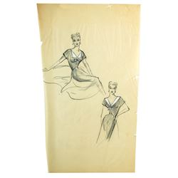 Set of 2 Elois Jenssen Costume Sketches for Lucille Ball
