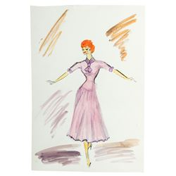Set of Lucille Ball and Vivian Vance Costume Sketches from I Love Lucy or The Lucy Show