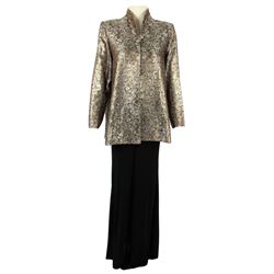 Lucille Ball Personal Custom Silver, Black & Gold Brocade Jacket with Black Dress Pants