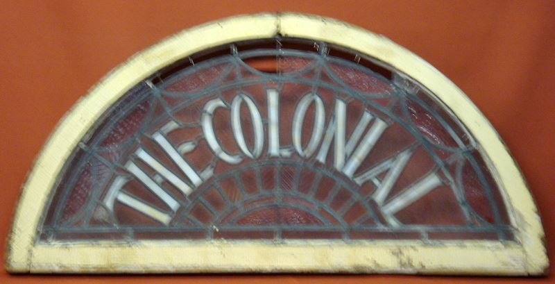 Unusual Leaded And Stained Glass Half Round Window The Colonial 7 Small Glass Sections With Mi