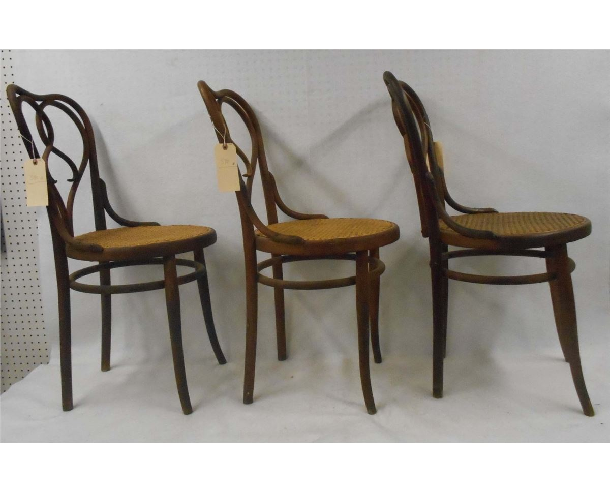 "Three Thonet chairs signed ""Thonet Austria"" 19th"