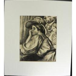 Claude Renoir and Two Maids Engraving Print Renoir
