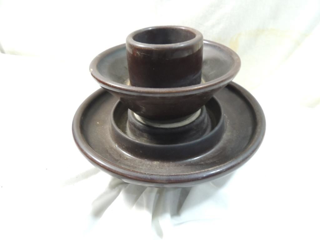 VINTAGE LARGE BROWN CERAMIC INSULATOR