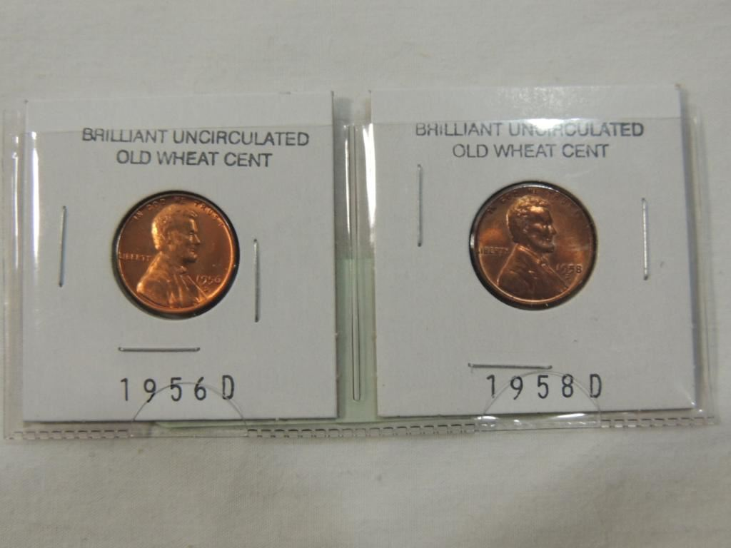 LOT 2 BRILLIANT UNCIRCULATED OLD WHEAT CENTS