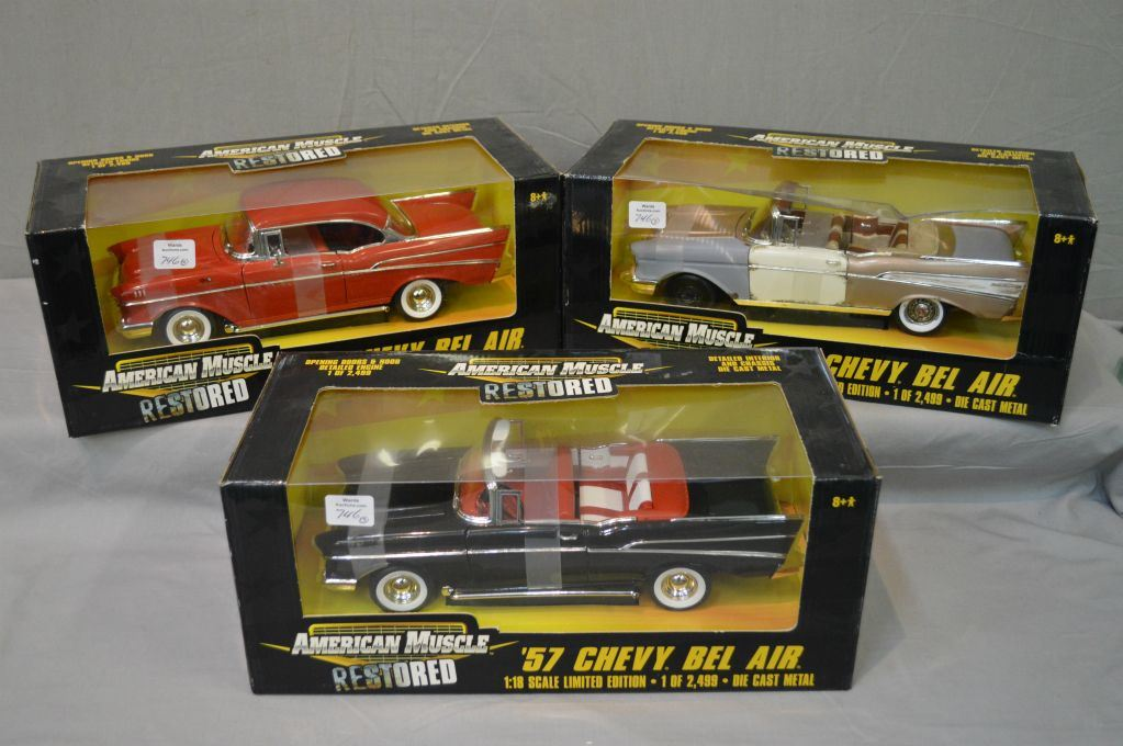 Three American Muscle 1:18 limited edition die cast metal