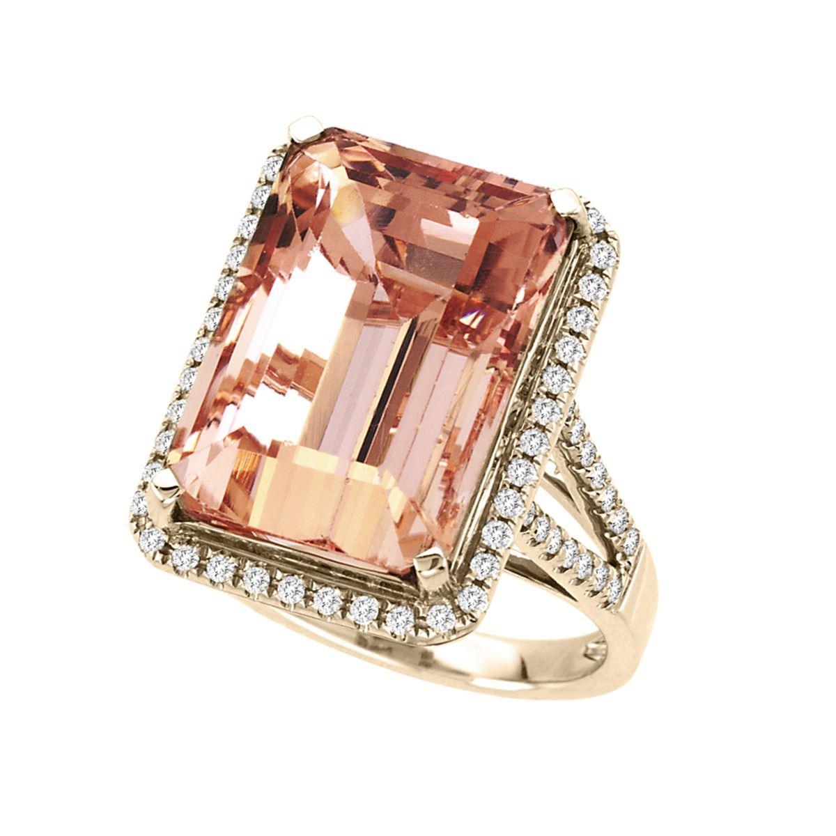 15 CARAT MORGANITE & DIAMOND RING