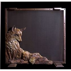 Fireplace Screen with Fox Relief Sculpture