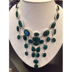 Stunning Emerald Green Beryl Cascading Neckpiece Accented with Diamonds