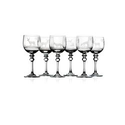 Hand-Engraved Set of Crystal Port/Wine Glasses